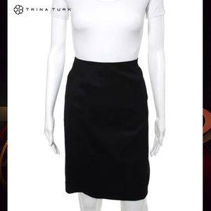 TRINA TURK Elegant Black A-Line Skirt